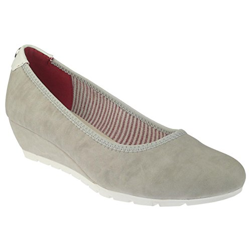 TOM TAILOR 4893603 Ballerina Pumps Wedges Keilabsatz icegrau Gr.37-42 EUR 40