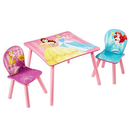 Disney Princess Disney Princesse Table et 2 chaises par hellohome, Bois Dense, Rose, 63x63x45 cm
