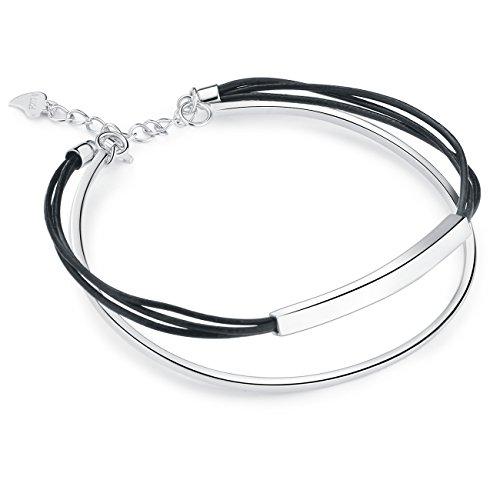 SILVERAGE Pulseras Plata de Ley 925 Brazalete Ajustable Cuerda Negro Doble Cuero Sintético