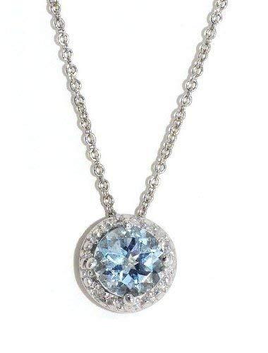 Elizabeth Jewelry 1 CT auténtica de Diamante Redondo, 925 Colgante de Aguamarina Broche de Plata de Ley rodio Fi.