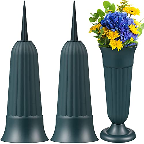 Memorial Floral Vases Cemetery Grave Cone Vase Graveside Memorial Vase Base with Stake and Plastic Base for Grave Site Outdoor Flower Arrangement Container Memorial Supplies (9)