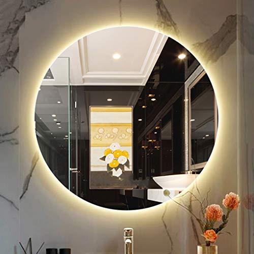 YUANJJ LED Beleuchteter Badspiegel, Rahmenloser Runder Badezimmerspiegel Mit LED-Beleuchtung, Weißes Licht/Warmes Licht - Wandmontage