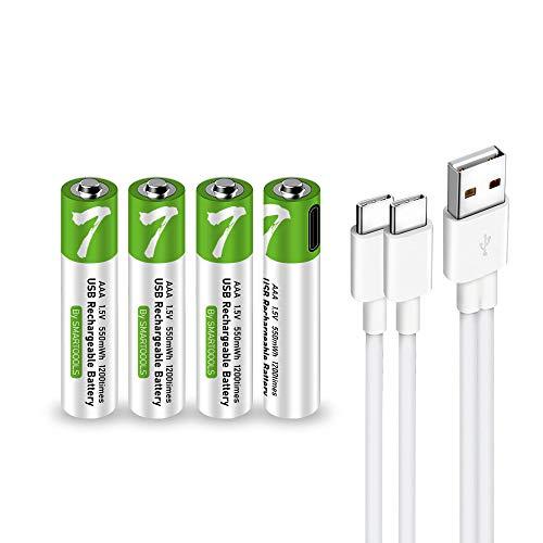 Wiederaufladbarer USB-AAA-Lithium-Ionen-Akku, hohe Kapazität, 1,5 V, 550 mWh, wiederaufladbarer AAA-Batterie, 1 H Schnellladung, 1200 Zyklen mit Typ-C-Port-Kabel, konstanter Ausgang, 4 Stück