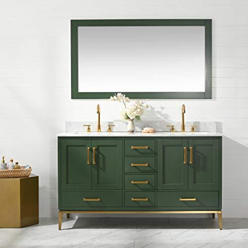 UrbanFurnishing.net - Joy 60-Inch (60') Bathroom Sink Vanity Set with White Italian Carrara Marble Top - Green