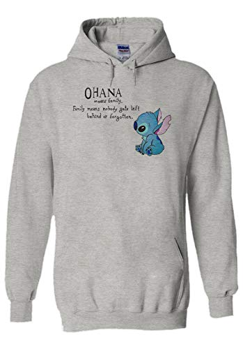 Disney Lilo and Stitch Ohana Means Family Sport Grey Men Women Unisex Top Sweatshirt Hoodie Sweats à Capuche-M