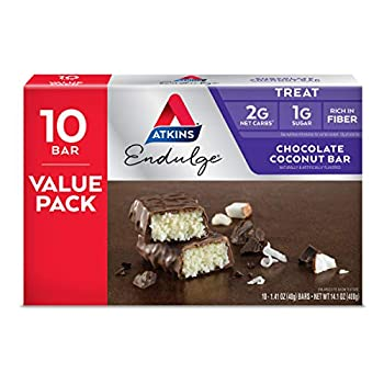 Atkins Endulge Treat Chocolate Coconut Bar Rich Coconut & Decadent Chocolate Keto-Friendly Value Pack  10 Bars