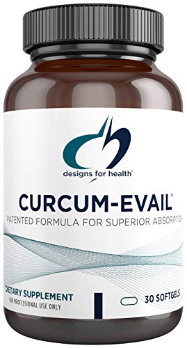 Designs for Health Curcum-Evail - Bioavailable Turmeric Curcumin Supplement - Patented Formula for Superior Absorption, Triple Curcuminoid Blend with Turmeric Oil + Vitamin E, Non-GMO (30 Softgels)