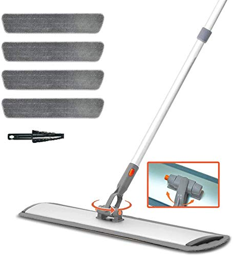 Professional Microfiber Mops Floor Cleaning System, 360 degree Perfect for Hardwood, Laminate, Tile Floor Cleaning, 4 Dry & Wet Reusable Dust Mop and 1 Dirt Removal Scrubber Included