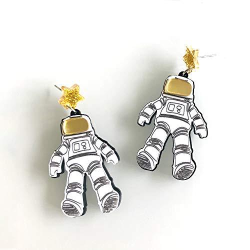 RQZQ oorbel Grappig Gepersonaliseerde Spaceman Acryl Drop Oorbellen Glitter Poeder Star Cool Winter Drop Oorbellen voor Vrouwen Uniek