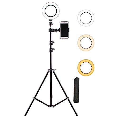 Ring Light 6 Inch With Tripod Stand (82'tall) - Dual Phone Holders LED Selfie Ring Light For Video Recording,Conference,Makeup,Iphone,Laptop,Computer,Webcam-B 82 inch