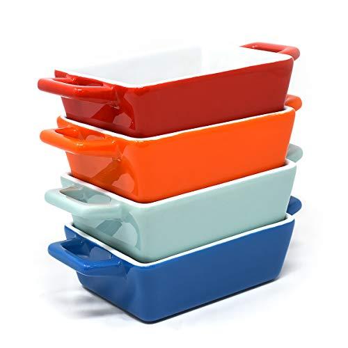 joeji's Kitchen 4er Set Mini Rechteckig Keramik Backschüssel | Ideal als Auflaufform klein, Lasagne Auflaufform, kleine Auflaufform | Kleine Auflaufformen in Blau, Hellblau, Rot, Orange