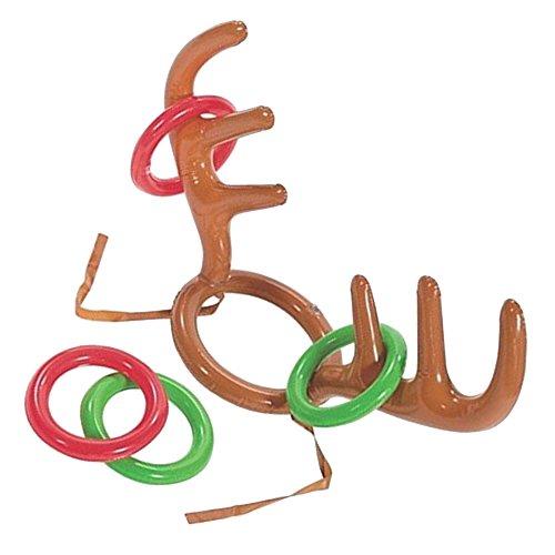 Kicode inflable Navidad Reno Sombrero de la cornamenta Con Ring Toss Juguetes interactivos