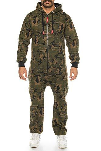 Raff & Taff Herren Jumpsuit Overall Trainingsanzug Fitnessbekleidung Onesie Ganzkörperanzug Basic und Schlicht (Woodland (2916), S)
