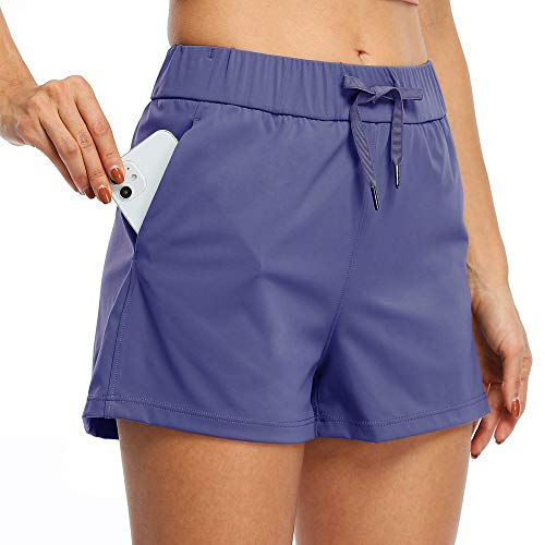 """Willit Women's Yoga Lounge Shorts Hiking Active Running Workout Shorts Comfy Travel Casual Shorts with Pockets 2.5"""" Denim Blue M"""