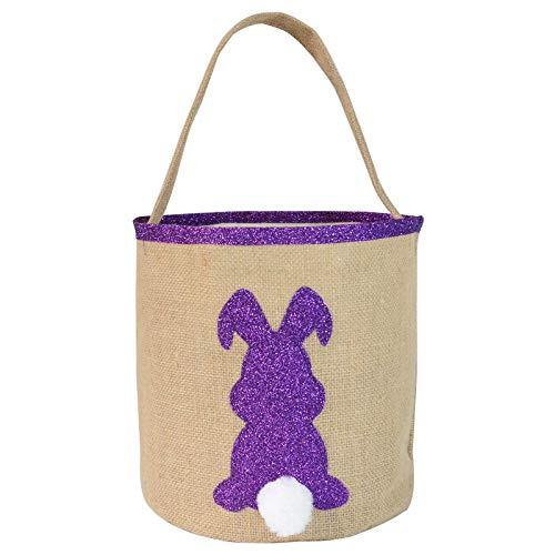 UKtrade Happy Easter - Bolsas de arpillera con orejas de conejo de Pascua, cesto de Pascua, diseño de conejito morado