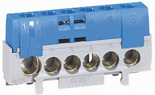 Legrand LEG92784 - Morsettiera di distribuzione neutro con 5 morsetti, per cavi da 6 a 25 mm2 + 1 per cavi da 10 a 35 mm2, colore: Blu