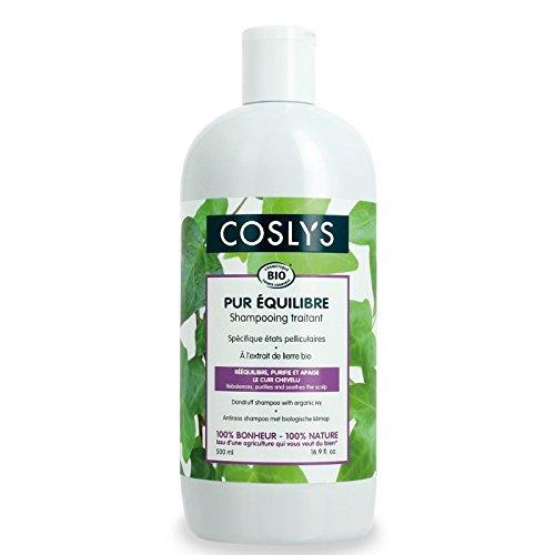 Coslys Champú anticaspa con extracto de hiedra orgánico, 500 ml