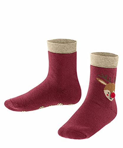 FALKE Unisex Kinder Reindeer K HP Hausschuh-Socken, Rot (Ruby 8830), 39-42 (13-16 Jahre)