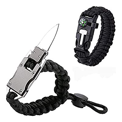 Luoyer Adjustable Paracord Bracelet with Knife Survival Gear Tactical Parachute Bracelet with Whistle Fire Starter Multi-Tool for Men Camping Outdoor Hiking Black 2 Pack