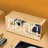 Xiaoqingren Led Wireless Alarm Tischuhr Licht Dunkel Einstellung Fm Radio Wecker Snooze Funktion Home Decora,Gold