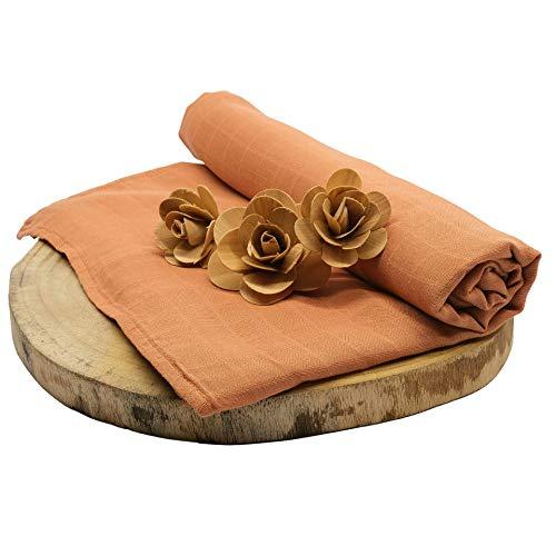 Hinrichsen & Co. Baby Kuscheldecke aus Bambus, Musselin Babydecke als Tagesdecke, Pucktuch für Babys und Kinder (Ocker, 1)