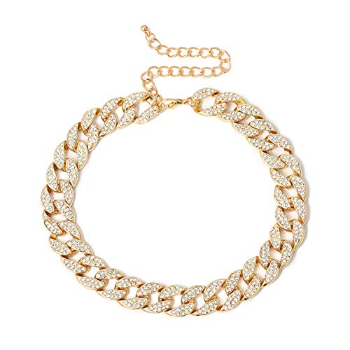 Ingemark Shiny CZ Rhinestone Curb Cuban Link Chain Choker for Women Unisex Cool Hip Hop Miami Cuban Diamond-Cut Chain Choker Necklace (Style 1 Golden)