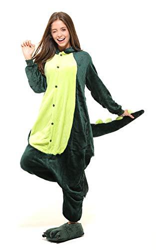 Tante Tina Ganzkörperkostüm Drache für Erwachsene - Drachenkostüm für Erwachsene aus kuschligem Plüsch und Flannel - Grün - Größe S
