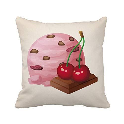 DIYthinker Chocolat Cerise Violet crème glacée Boule carrée Coussin Oreiller de Insert Cover Accueil Canapé Décor Cadeau 40 X 40Cm Multicolore