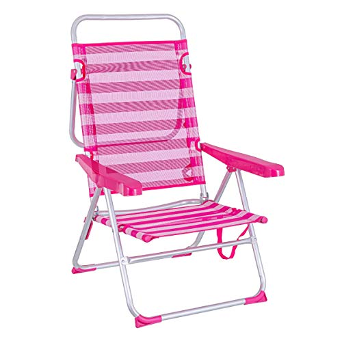 LOLAhome Tumbona Cama de Playa de 4 Posiciones de Aluminio y textileno (Rosa y Blanco)