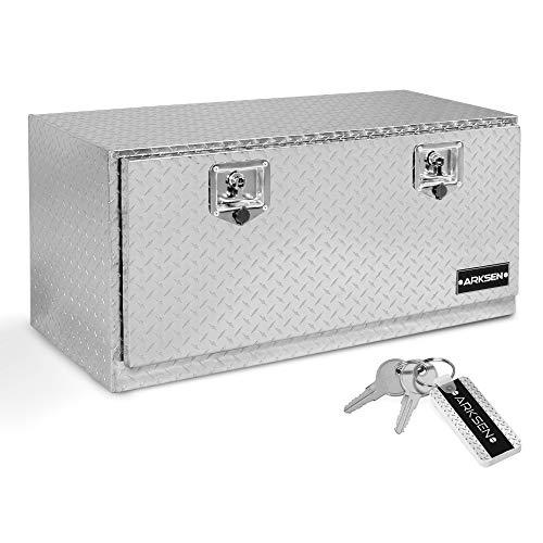 "ARKSEN 36"" Durable Truck RV Aluminum Diamond Plate Tool Box Underbody Trailer Storage With T-Handle Latch Key, Silver"