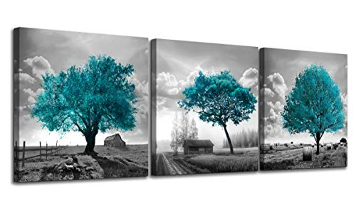 Canvas Wall Art for Bedroom Black and White Farmhouse Rustic Country Landscape Teal Trees