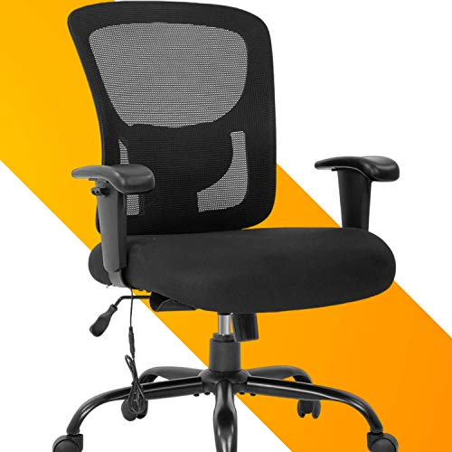 Big and Tall Executive Office Chair - 400lbs Adjustable Height PU Leather Swivel Ergonomic Desk Chair w/Thick Padding Headrest & Massage Lumbar Support Arms for Home Office Black