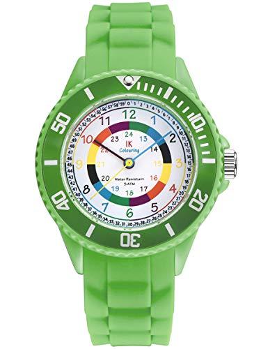 Alienwork IK Lernuhr Kinder Armbanduhr für Jungen Mädchen grün mit Silikon-Armband Kinderuhr Wasserdicht 5 ATM