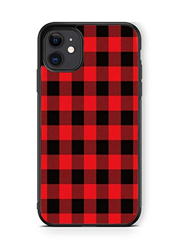 XUNBOTINGS for iPhone 11 Case -Red and Black Plaid Christmas Personalized Decorative Design Patterns -Soft TPU Luxury Tempered Mirror Protective iPhone Case (for 11)