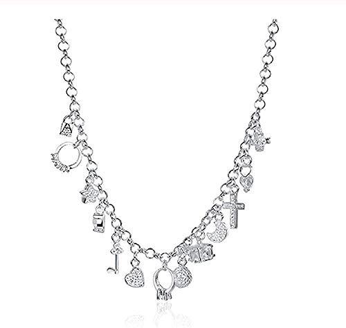 Yiffshunl Collar en Forma de corazón Luna Estrellas Cruz Colgante Cuadrado Collar para Mujer Boda Compromiso Encanto joyería Regalos