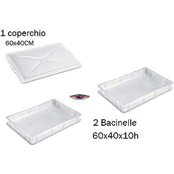1 60x40xh10+Coperchio Euroshoppingonline Cassetta Portaimpasto Service 60x40xh10 Sovrapponibili con 1 Coperchio Contenitore lievitazione Impasto Pizza Pane
