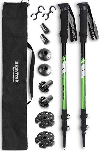 High Trek Trekking Poles - 2-pc Pack Adjustable Hiking or Walking Sticks - Strong Lightweight Aluminum 7075 - Quick Adjust Flip-Locks - Silver