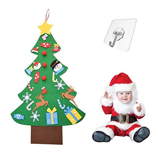 kungfu Mall Albero di Natale in Feltro per Bambini, Albero di Natale Fai-da-Te 3.2ft con 26 Pezzi Ornamenti per Bambini Piccoli Regali di Natale Decorazione della Parete della Porta della casa