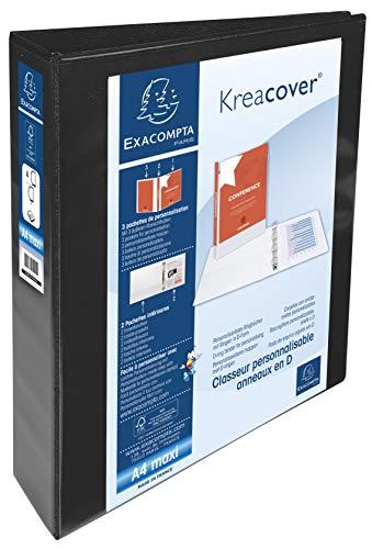 Exacompta 51844NE Ringbuch Kreacover aus festem PP, 4 Ringe 50mm, Rücken 75mm, 3 Außen- und 2 Innenhüllen, DIN A4+, 1 Stück, Schwarz