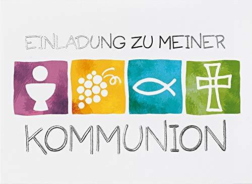 Einladungskarte zur Kommunion - Symbole, quer - 10,5 x 14,5 cm