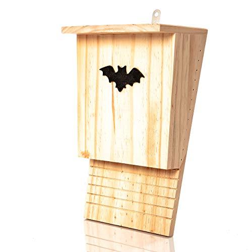 Skojig© Fledermauskasten aus Naturholz - Fledermaushöhle | Fledermaushaus für den Garten - fertig montiert & zum aufhängen : Fledermaushotel Nistkasten Schlafplatz