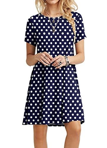 POPYOUNG Women's Summer Casual T-Shirt Dresses Beach Dress Medium, Polka Dot Navy Blue