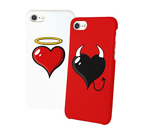 Heart With Angel Heart With Devil Horns Iphone Relazione Amicizia Accoppiamento Custodia Protettiva In Plastica Rigida Phone Case PerIil Migliore Amico iPhone 6, 6s, 7, 7 Plus, 6 Plus, 8, X Case