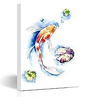 """キャンバスプリント手描きの天然水彩鯉鯉オリエンタル野生生物レッドフィッシュカラフルな水自然壁アート8x12インチ装飾絵画アートワーク家のリビングルームオフィスドミト CUINA (Color : Gj0446, Size : 12""""W x 16""""L)"""
