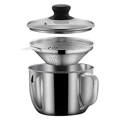 SUVIA Edelstahl Fettabscheider Öl Suppe Sieb Tasse, Fetttrennkanne Mehrzweck Verwendung Fett Ölfilter mit Sieb und Deckel, 1000ML