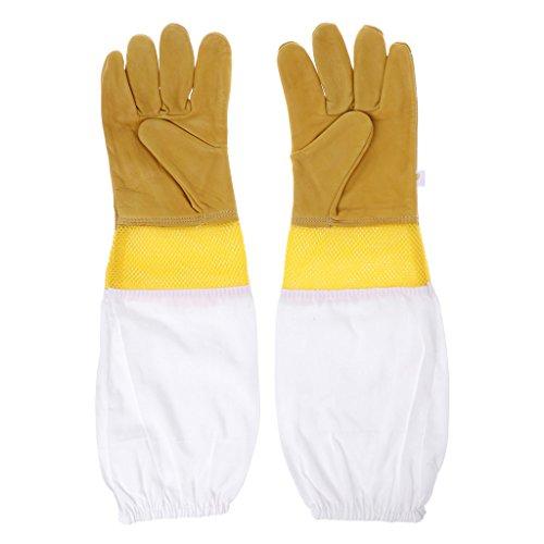 beihuazi® Imkerhandschuhe Bienenzucht Handschuhe Ziegenleder Perfekt Schutz für Die Anfänger Beekeeper