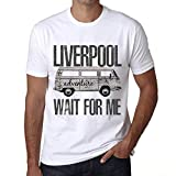 Hombre Camiseta Vintage T-Shirt Gráfico Liverpool Wait For Me Blanco