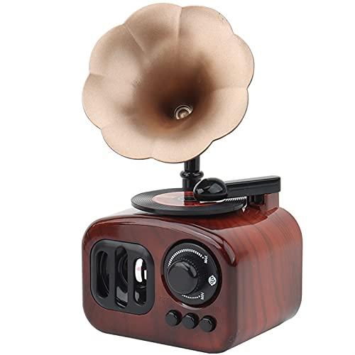 SUOTENG Cajas De MúSica para Mujeres, Retro gramófono Mini pequeño manivela Caja de música Pareja Regalo de cumpleaños niña niños decoración de Sala de Estar