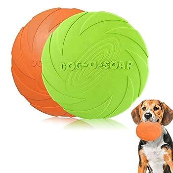 2 Packs Disque Chien, Frisbee Jouet pour Chiens, Frisbee Chien en Caoutchouc, Anti-Morsure,Résistant à l'usure, Douxpour Jeux Sport Exercice Activité et Jeu en Plein.(Vert, Orange)