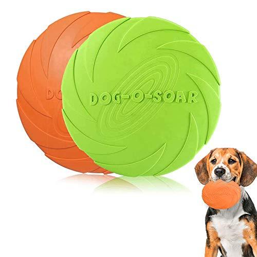 2 Piezas Frisbees de Perro, Juguete de Disco Volador para Perro, Perros interactivos Frisbee para Adiestramiento de Perros Juguetes de Tiro, Captura y Juego(Verde, Naranja)